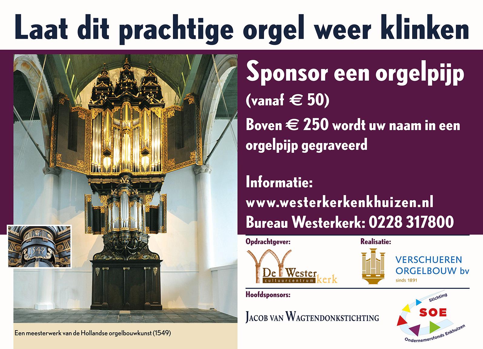 Gezocht: sponsors voor het orgel