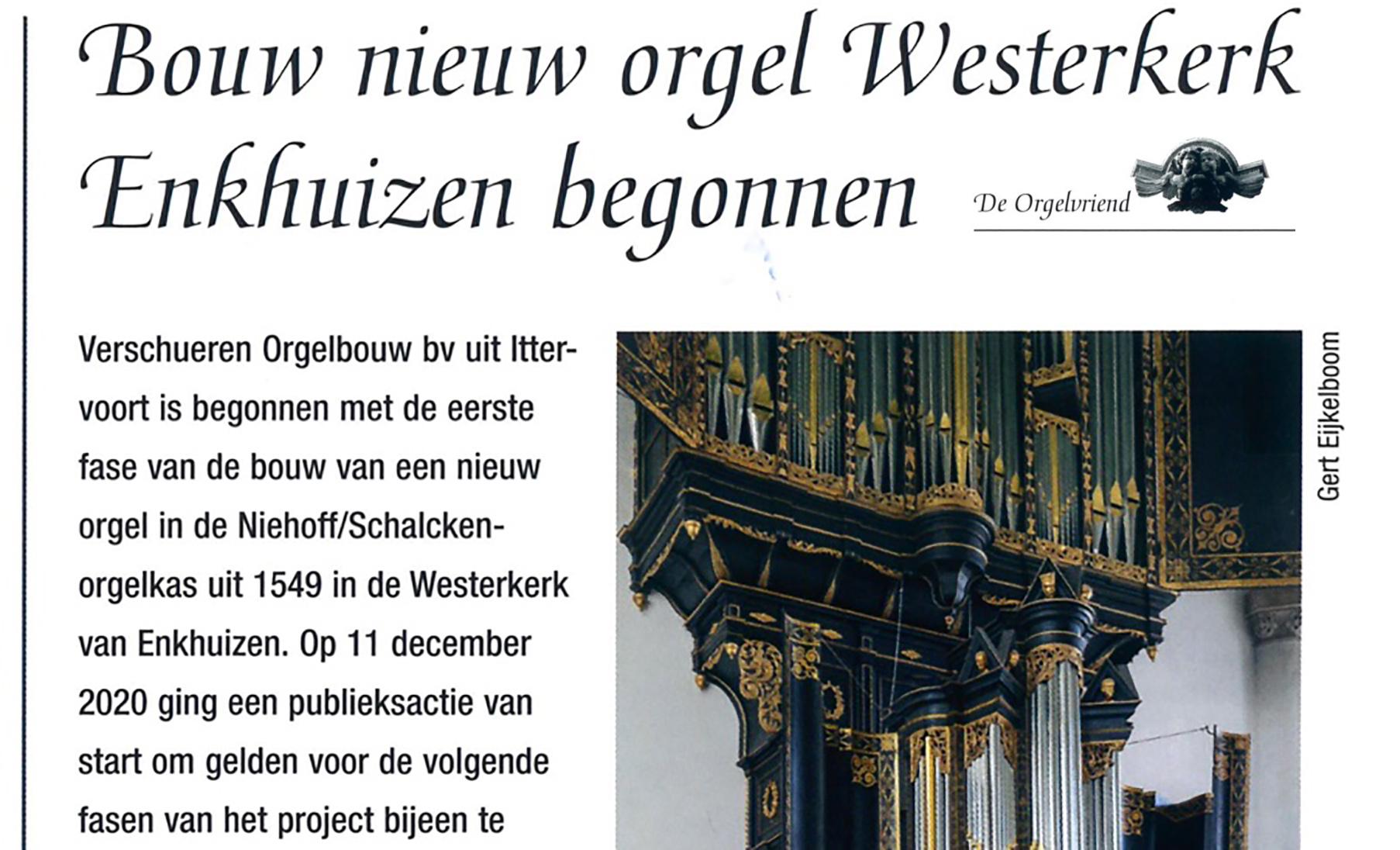 De Westerkerk in 'de Orgelvriend'